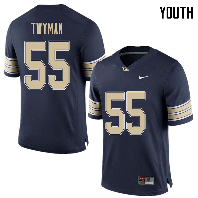 Youth #55 Jaylen Twyman Pittsburgh Panthers College Football Jerseys Sale-Home Blue