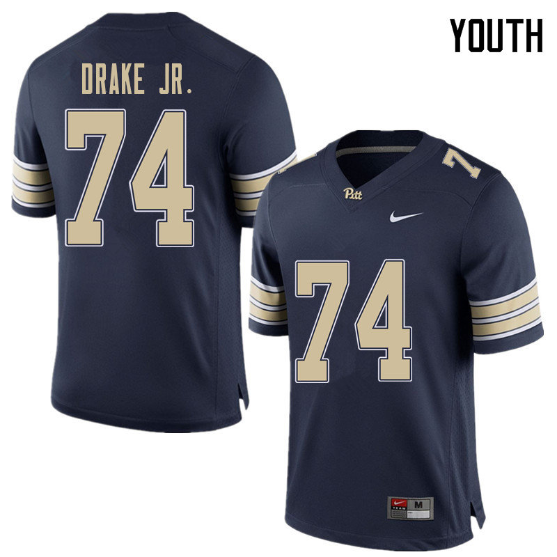 Youth #74 Jerry Drake Jr. Pittsburgh Panthers College Football Jerseys Sale-Home Blue