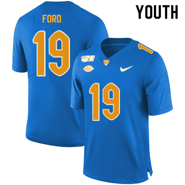 2019 Youth #19 Dontez Ford Pitt Panthers College Football Jerseys Sale-Royal