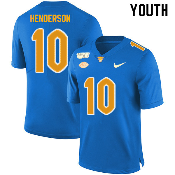 2019 Youth #10 Quadree Henderson Pitt Panthers College Football Jerseys Sale-Royal